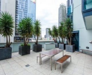 Balcony area of Highrise Melborune apartments